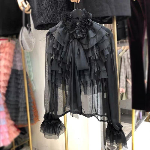 Leah Ruffle Blouse Black