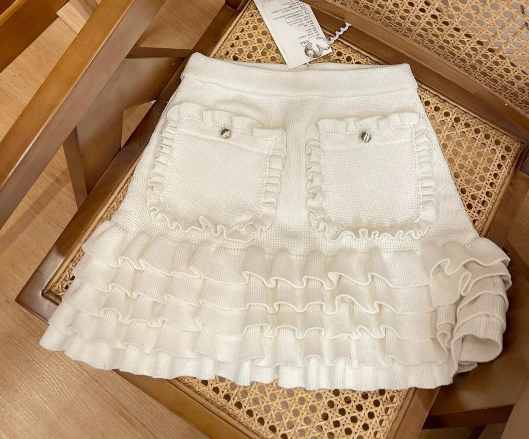 Florence Ruffle Knit Skirt Cream
