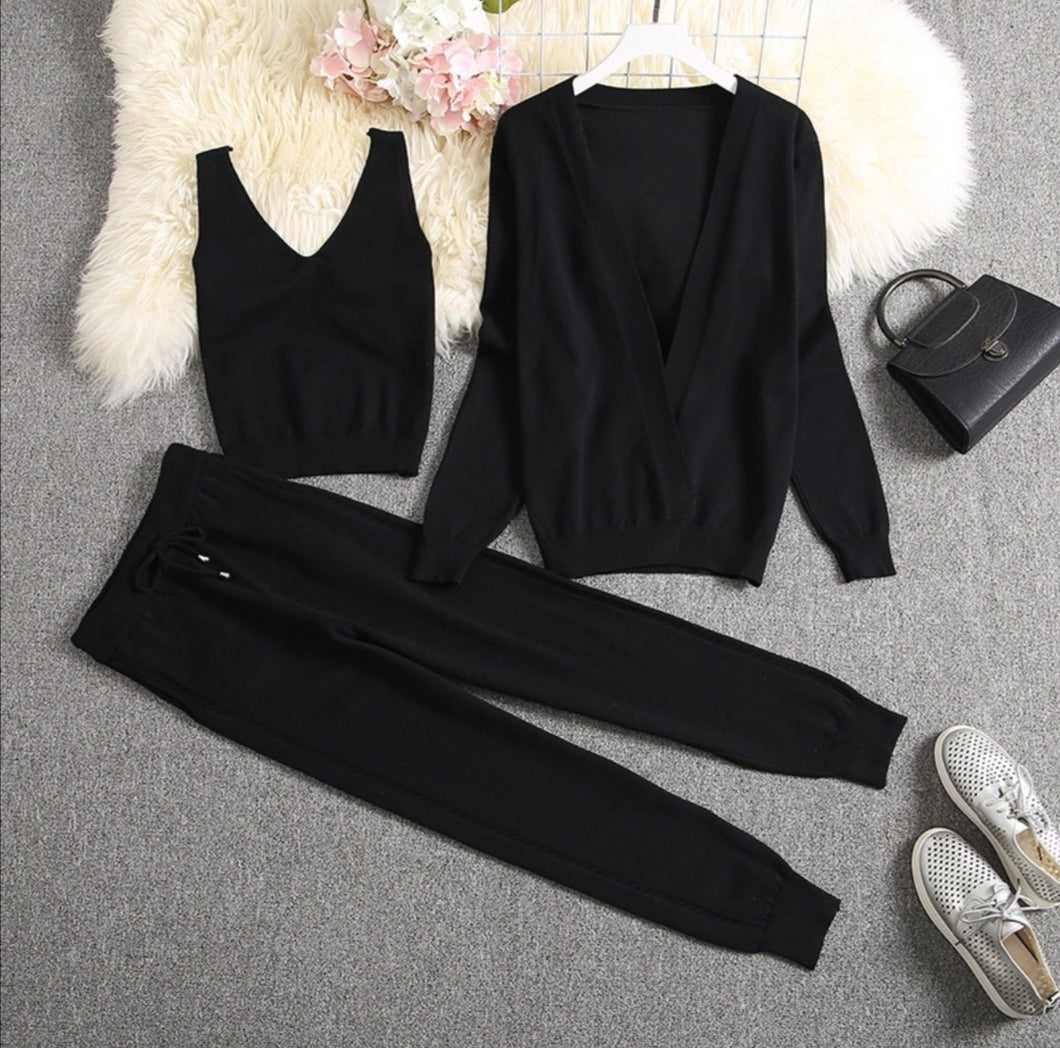Chester Black 3 piece Knitted Set