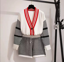 Load image into Gallery viewer, Chequered Cream Knitted Cardi Short Set