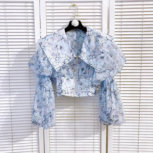 Lorrie Blue Puffer Sleeve Shirt/Top