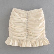 Load image into Gallery viewer, Theresa Ruched Cream Diamanté Skirt