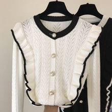 Load image into Gallery viewer, Candy White Ruffle Cardigan Top