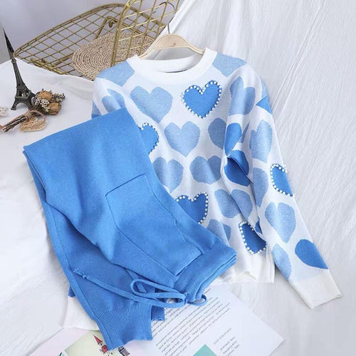 Heart Embellished Knitted Set Blue