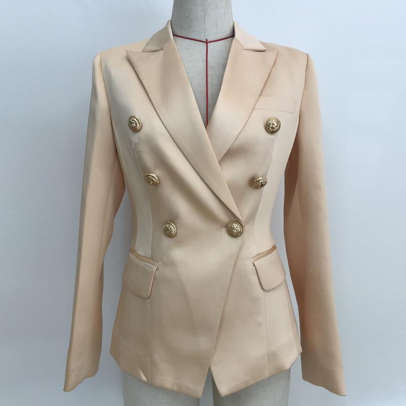 Double Breasted Jacket Satin Beige