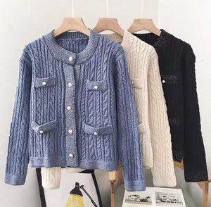 Gloria Blue Ribbed Knitted Cardigan