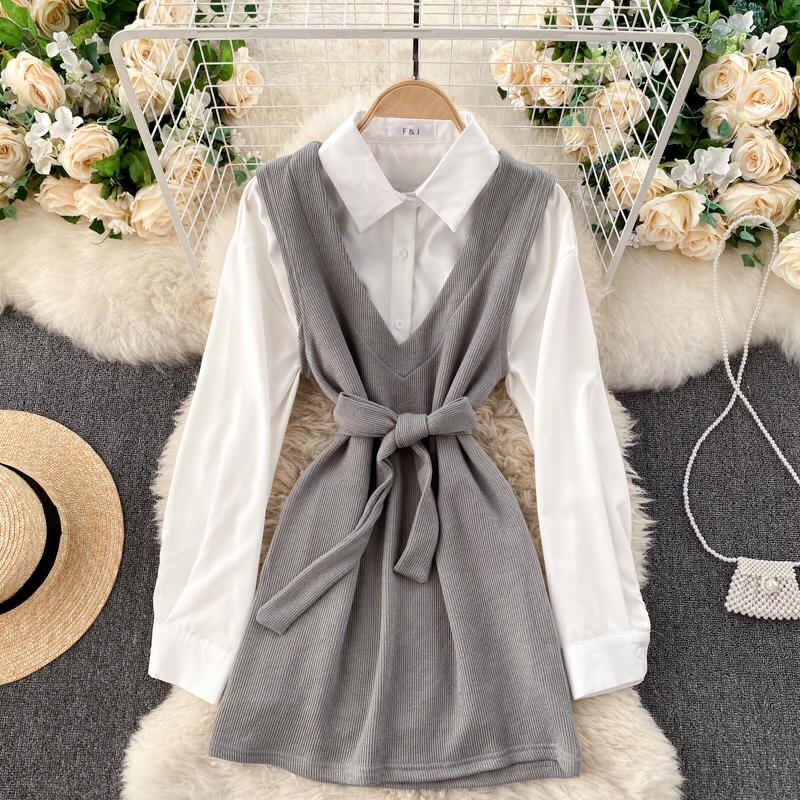 Demi Shirt Tie Dress Grey