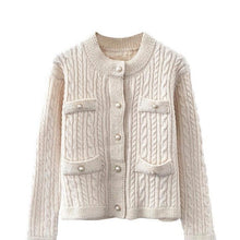 Load image into Gallery viewer, Gloria Cream Ribbed Knitted Cardigan
