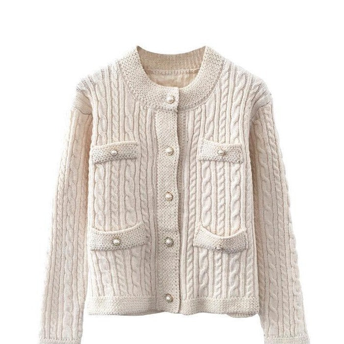 Gloria Cream Ribbed Knitted Cardigan