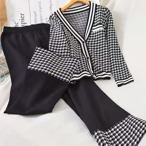 Coco Black White Cardigan Set