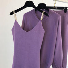 Load image into Gallery viewer, Diablo Purple 3 piece Knitted Set