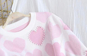 Heart Embellished Knitted Set Pink