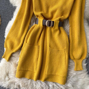 Mable Belted Knit Dress Yellow