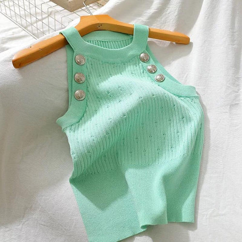 Santa Fae Green Knitted Top