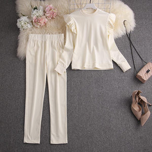 Syd Cream Ruffled Tracksuit Set