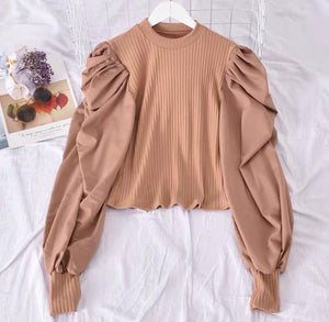 Kappa Puff Sleeve Top Beige