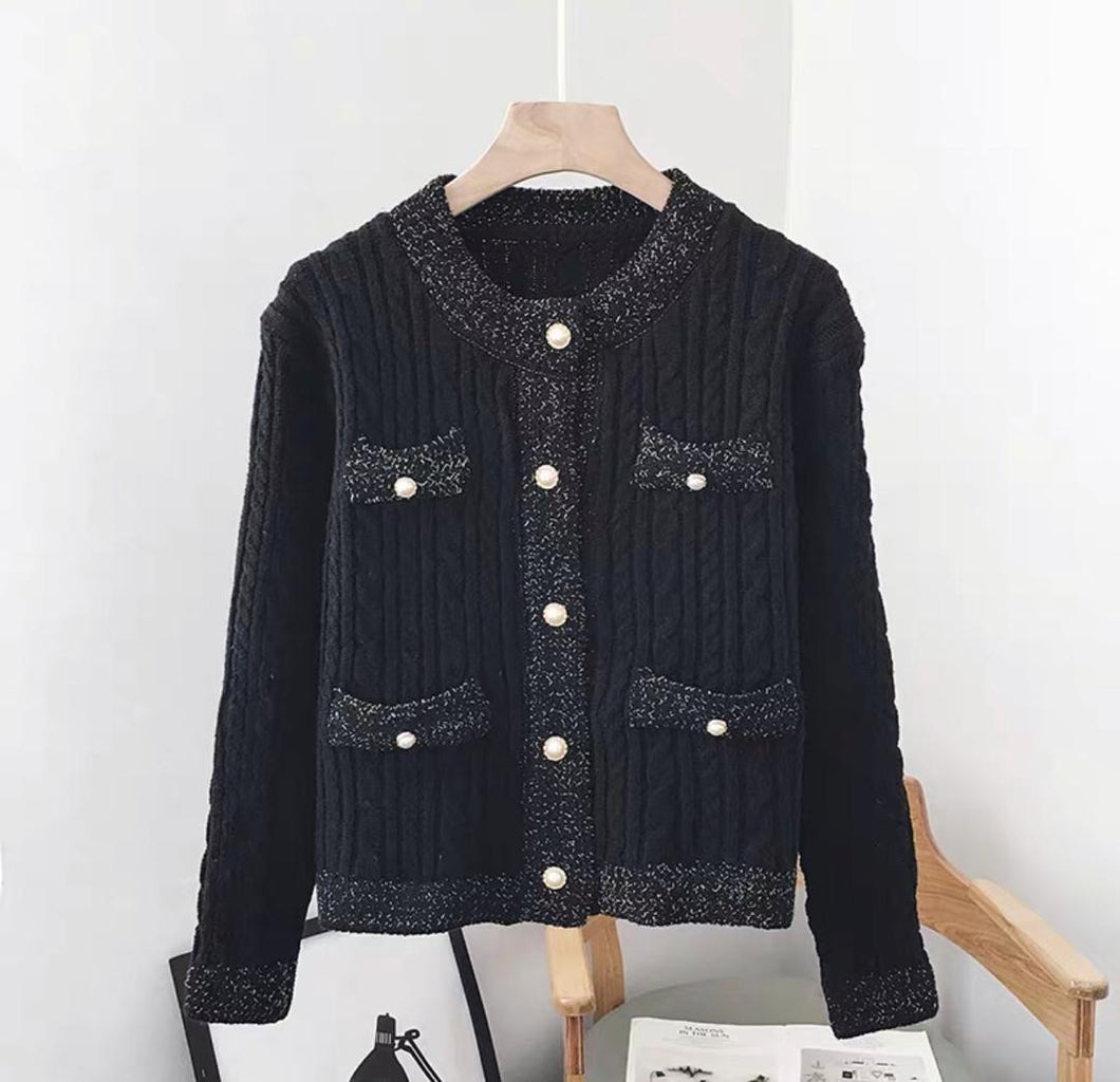 Gloria Black Ribbed Knitted Cardigan