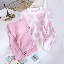 Load image into Gallery viewer, Heart Embellished Knitted Set Pink