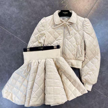 Load image into Gallery viewer, Quilted Cream Jacket Skirt Set