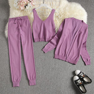Chester Purple 3 piece Knitted Set