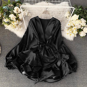 Pia Satin Ruffle Dress Black
