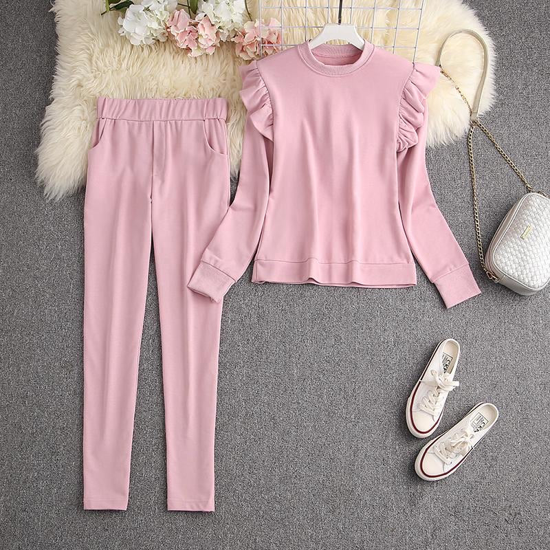 Syd Pink Ruffled Tracksuit Set