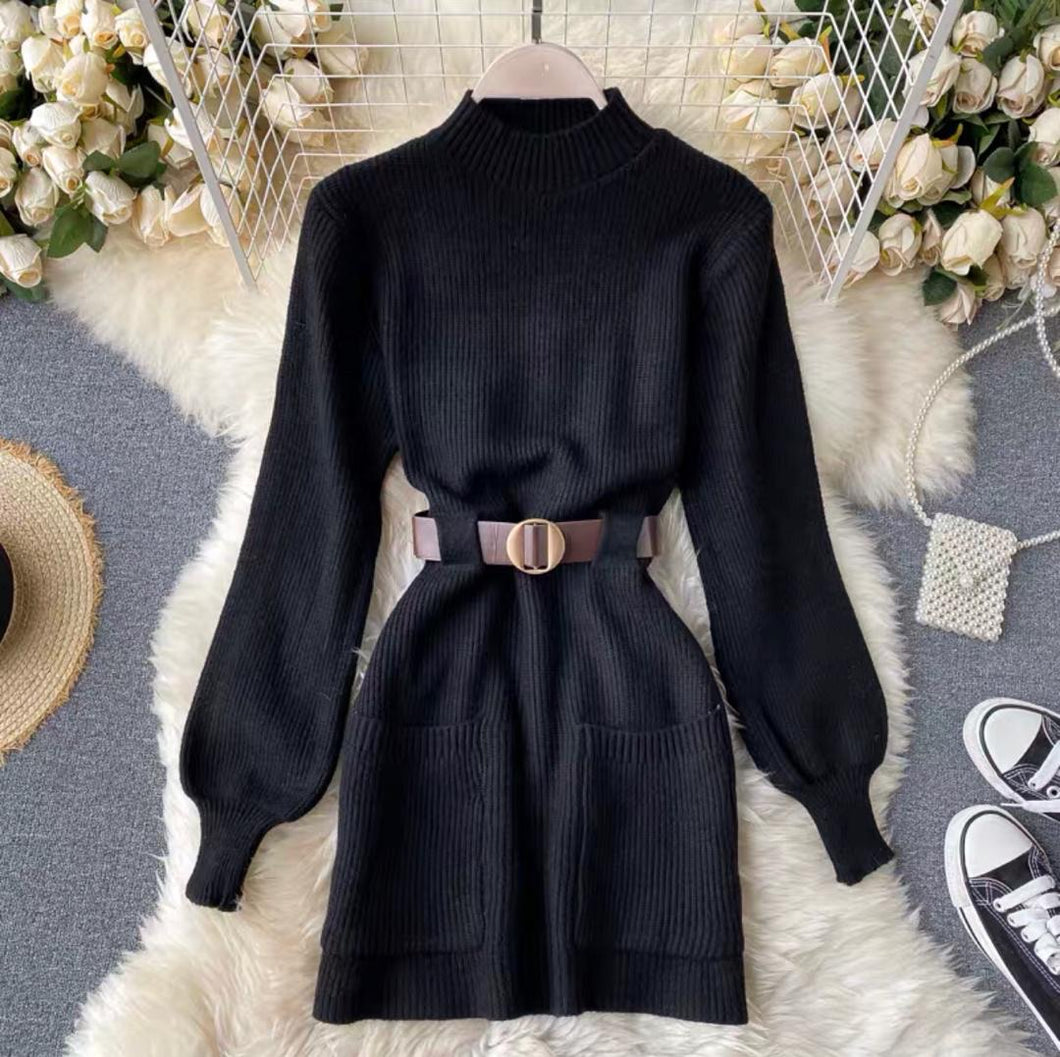 Mable Belted Knit Dress Black
