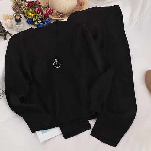Snowie Black Plain Loungewear Set