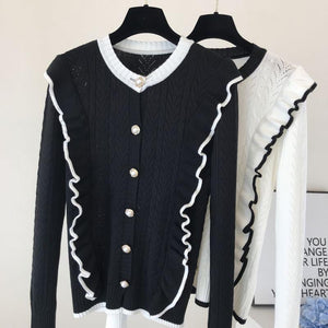 Candy Black Ruffle Cardigan Top