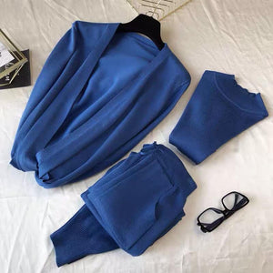 Hadlow Blue 3 piece Knitted Set