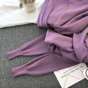 Diablo Purple 3 piece Knitted Set