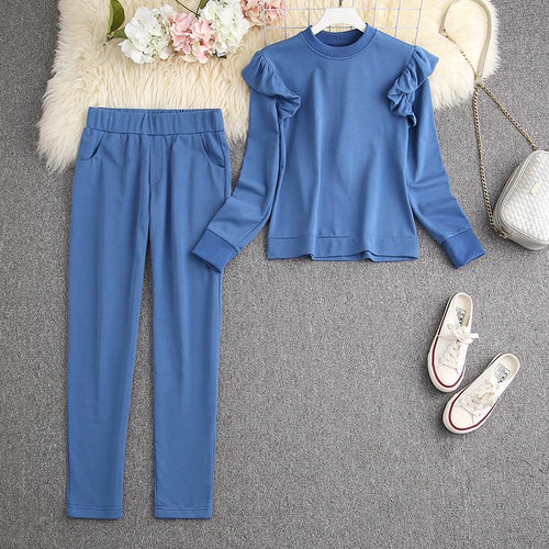 Syd Blue Ruffled Tracksuit Set