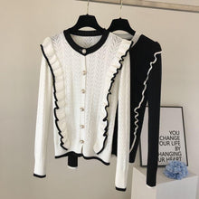 Load image into Gallery viewer, Candy Black Ruffle Cardigan Top