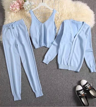 Load image into Gallery viewer, Chester Blue 3 piece Knitted Set