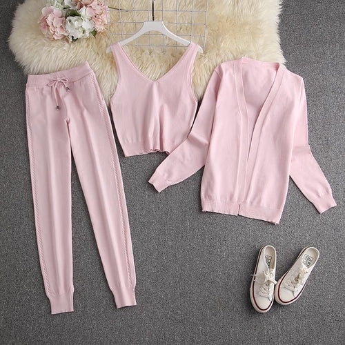 Chester Baby Pink 3 piece Knitted Set
