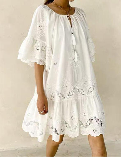 Miah Embroidered Dress White