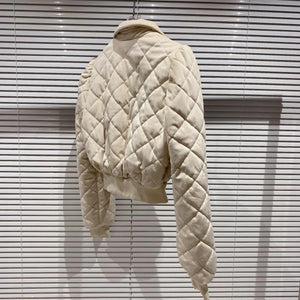 Quilted Cream Jacket Skirt Set