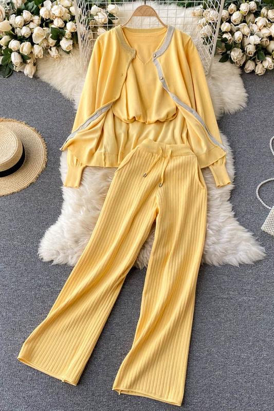 Ruiz Yellow Knitted Loungewear Set