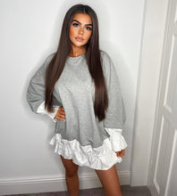 Load image into Gallery viewer, Candice Grey Sweater Ruffled Dress