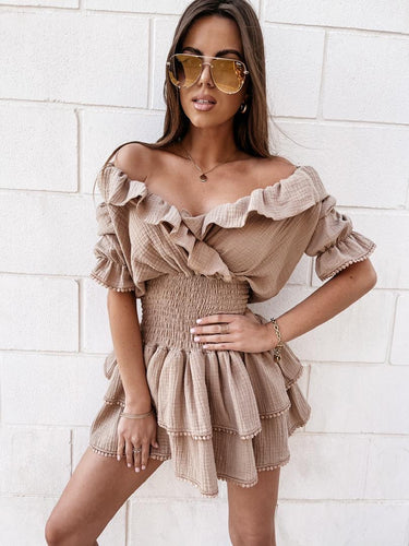 Talia Frill Dress Brown