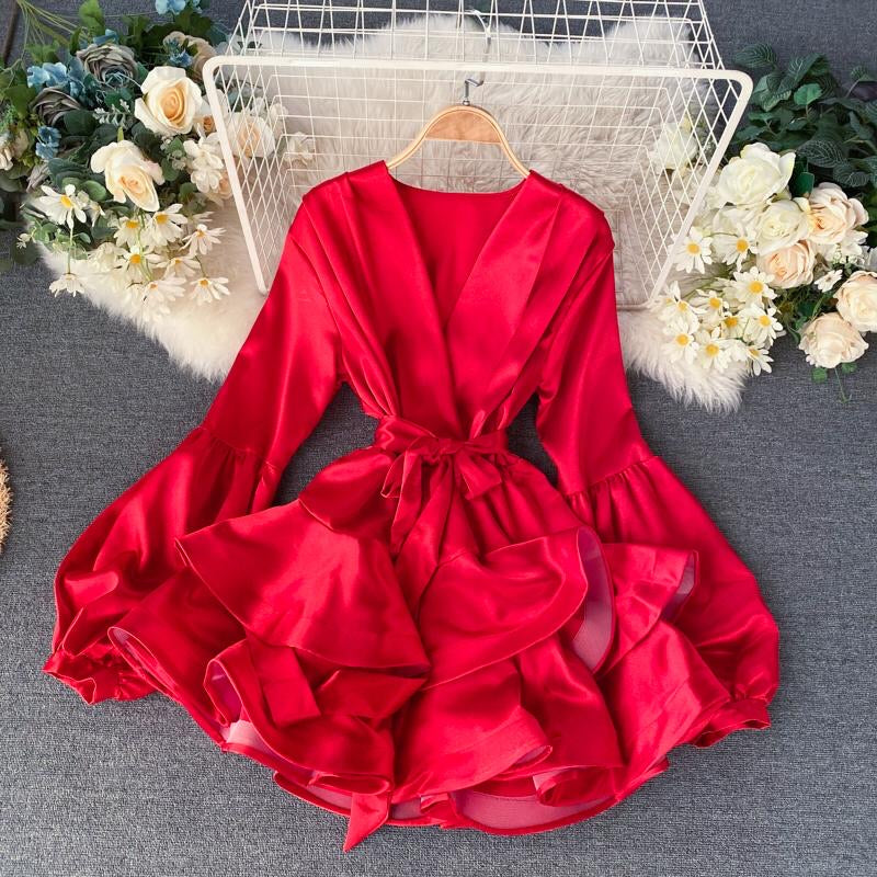 Pia Satin Ruffle Dress Red