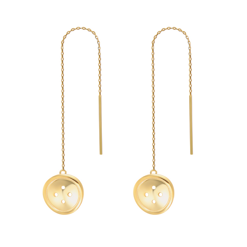 OOPS JEWELRY | BUTTON LONG EARRINGS (GOLD) | NKEY00600