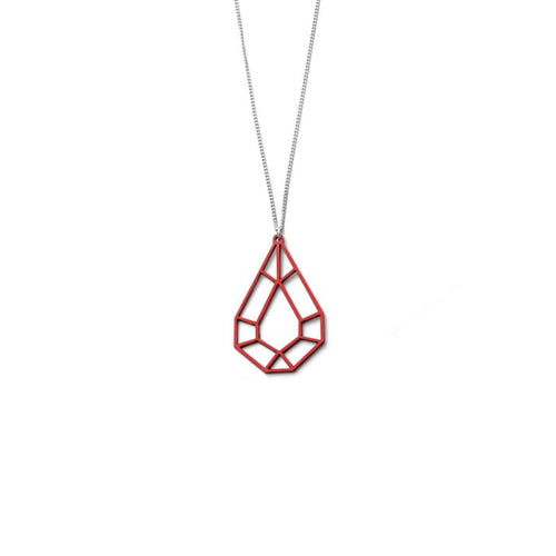 VALONA | 2D BIRCH CRYSTAL NECKLACES, MINI DROP (RED) | 27591