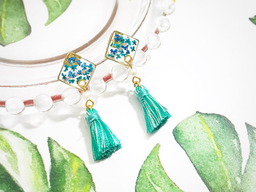HEI THERE | (POP UP) SMALL SQUARE TASSEL TURQUOISE GREEN H303