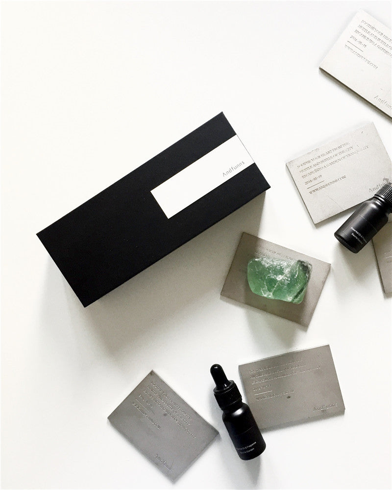ANDFUNNS |  AROMATHERAPY ESSENTIAL OIL DIFFUSED GREEN FLUORITE BLACK GIFT BOX SET  |  AFGS001