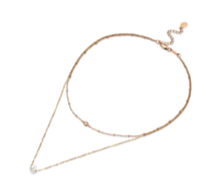 TRACEY CHEN | PEARL DOUBLE NECKLACES OF AKOYA CULTURED PEARL AND DIAMOND (ROSEGOLD) | P001