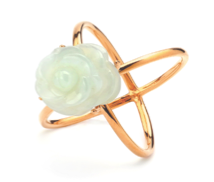 TRACEY CHEN | ROSE & DIAMOND RING OF BURM JADEITE ROSE CUTTING SHAPE (ROSEGOLD) | R006