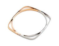TRACEY CHEN | SHINGING NATURAL DIMONDS DOUBLE COLOR BANGLE (ROSEGOLD/ WHITEGOLD) | S011