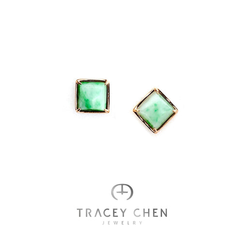 TRACEY CHEN | GEOMETRY STUDS OF GREEN BURMA JADEITE MEDIUM SQAURE SHAPE (ROSEGOLD) | G039