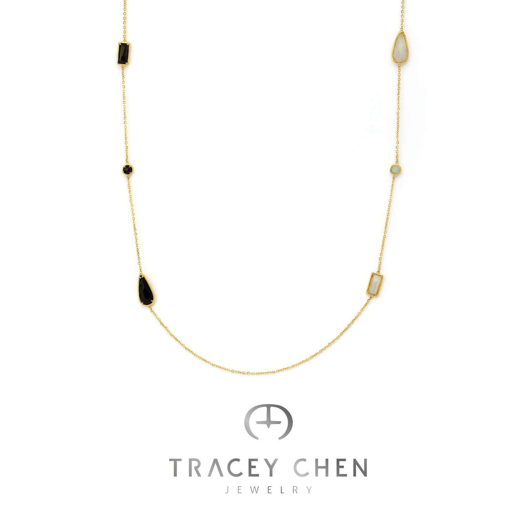 TRACEY CHEN | GEOMETRY LONG NECKLACE OF BLACK & WHITE BURMA JADEITE (GOLD) | G062